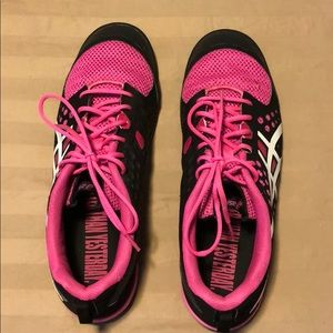 ASICS 11 pink and black sneakers